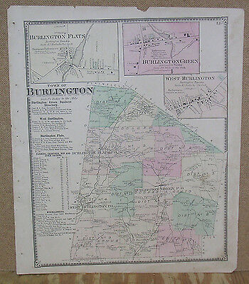 1868 Atlas Map of the Town of  Burlington (NY) hand colored