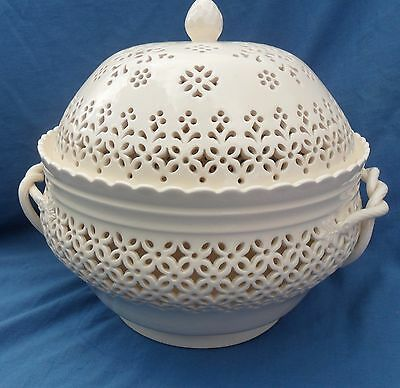 Large Royal Creamware Lidded Tureen with Pierced Decoration.