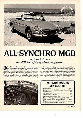 1968 All-Synchro Mgb  ~  Original 3-Page Road Test / Article / Ad