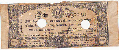 10 Kreuzer Fine Banknote From Austrian Empire 1860!!bank Cancelled!