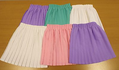 6 x VINTAGE 1980's UNWORN GIRLS PULL ON PLEATED SKIRTS ASSORTED SIZES & COLOURS