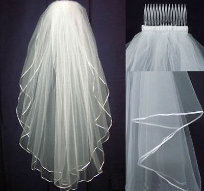 New White or ivory Wedding Bridal veil elbow Length Satin Edge with comb