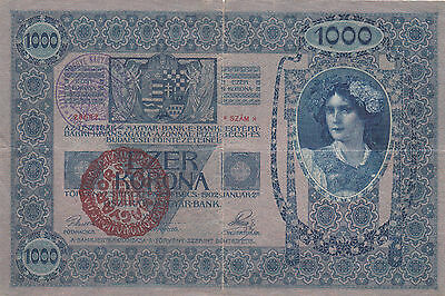 1000 Krone Banknote 1919 From County Of Szatmár!historic Hungary!rare