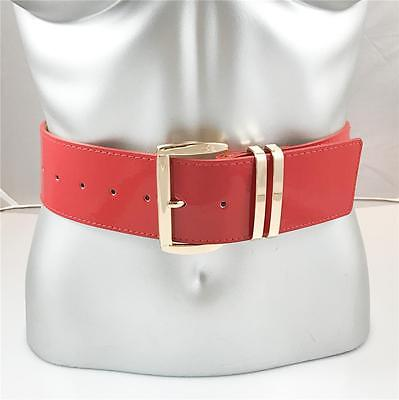 "New Womens Xl Plus Size Gold Buckle Wide Patent Leather 2"" Fashion Belt Red"