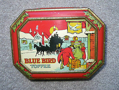 VINTAGE 1930s HARRY VINCENT CHRISTMAS BLUE BIRD TOFFEE TIN~SNOWY COACHING SCENE