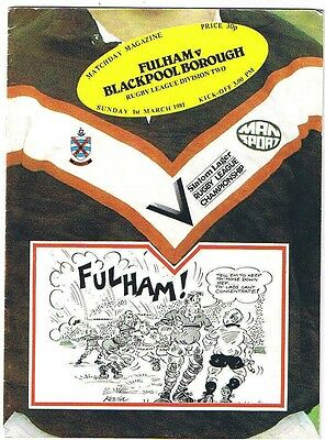 Fulham v Blackpool Borough 1980/1
