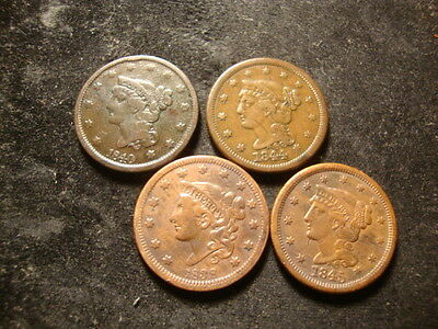 1838 1840 1844 1845 Large Cents Decent Looking Coins  SLOSS