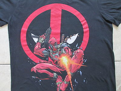 Marvel Deathpool Black Red Gun T Shirt Size M Medium L Large