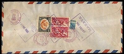Nicaragua 1951 Box Cancel On Cover To Chicago Illinois Usa Lions Club
