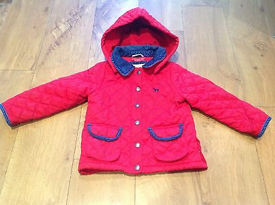 Mini Boden Girls Red Quilted Jacket Age 2-3 Years