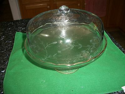 Jeannette Glass Harp Lyre Pedestal Cake Stand w/Gold Trim & Etched Cake Cover