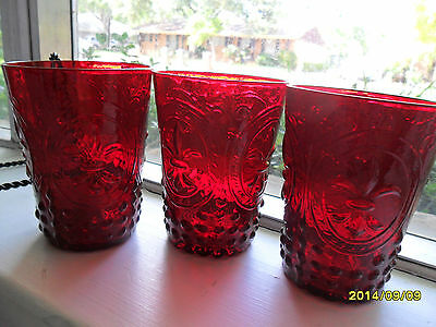 3 Zrike Renaissance Ruby Red Tumblers Hobnail With Design