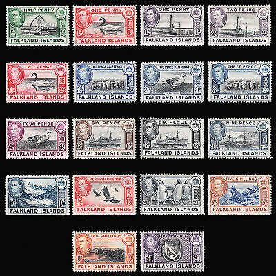 Falkland Islands KGVI 1938-50 set of 18 very fine mint hinged SG 146/163 CV £475