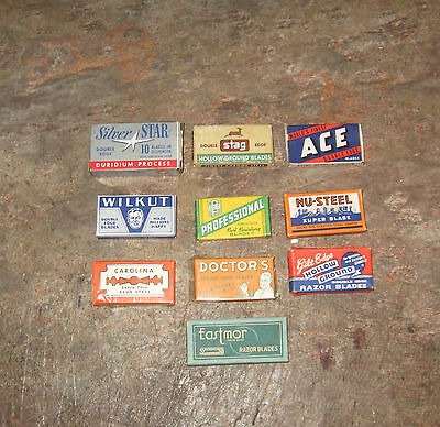 10 Different  Full  Boxes Of Vintage Razor Blades