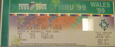 AUSTRALIA v ROMANIA RUGBY MATCH TICKET, RUGBY WORLD CUP 1999, ULSTER, RAVENHILL.
