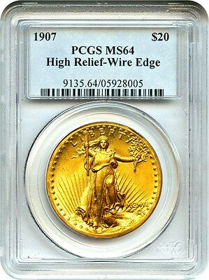 1907 High Relief $20 PCGS MS64 (Wire Edge) Americas Most Beautiful Coin