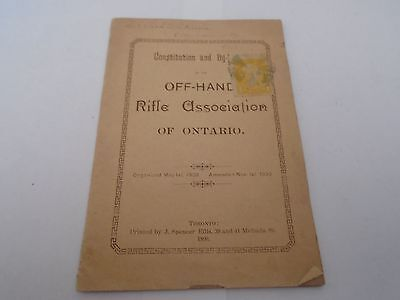 RIFLE ASSOCIATION OF ONTARIO 1890 Booklet with QUEEN VICTORIA STAMP