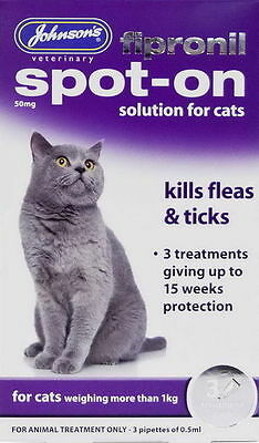 Johnsons  FIPRONIL Spot On Treatment Drops For Cats Kills Fleas & Ticks