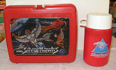 Silver Hawks plastic lunch box thermos 1986
