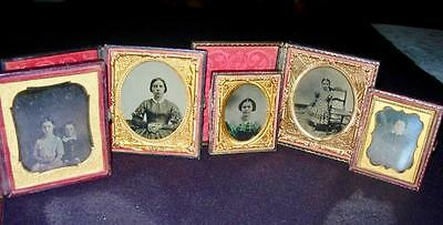 Daguerreotype Tinted Pre-Civil War Troy Ny Lot Of 5 Historical Photographer!