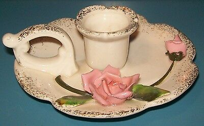 Antique Pink Applied Roses Ceramic Chamberstick Candle Holder Japan Rare Htf