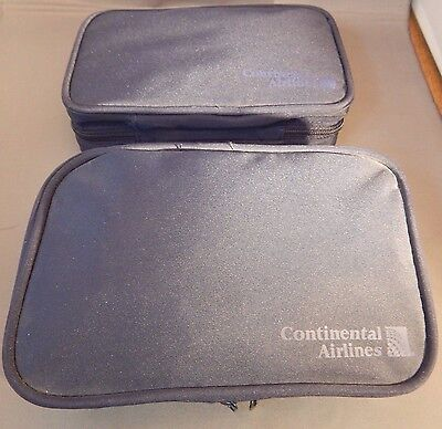 2 PC USA Continental Airlines Business First Class Travel Amenity Kit Case Bags