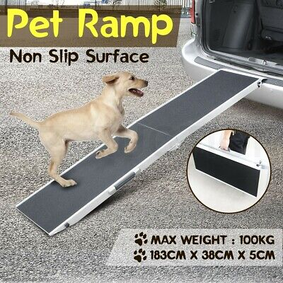 Large Foldable Aluminium Pet Dog Ramp Step Folding Non Slip Surface Portable