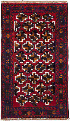 """Hand-knotted Afghan Carpet 2'8"""" x 4'6"""" Bahor Traditional, Tribal  Wool Rug"""