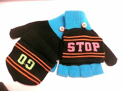 Girl's fingerless gloves mittens   STOP   GO      ONE SIZE    New w/tags