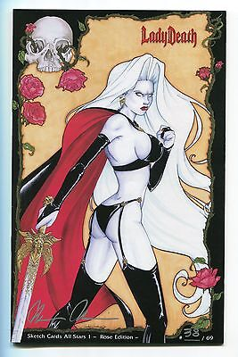 Lady Death Sketch Card All Stars #1 ROSE Variant Edition Jackie Santiago Cover