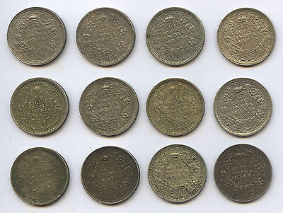 Group of 12 British India 1/4 Quarter Rupee Indian George VI KM547 Silver