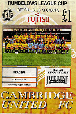 Cambridge United v Reading 1991/92 League Cup 1st round 1st leg