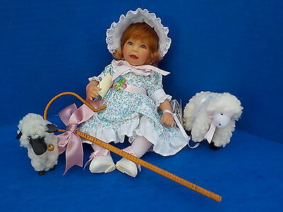 """Lee Middleton Little Bo Beep Doll 9"""" With Staff and Sheep Valentine's Day"""