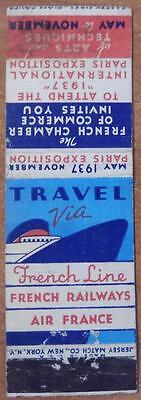 Vintage Matchbook The French Line Railways Air France 1937 Exposition Boat Ship