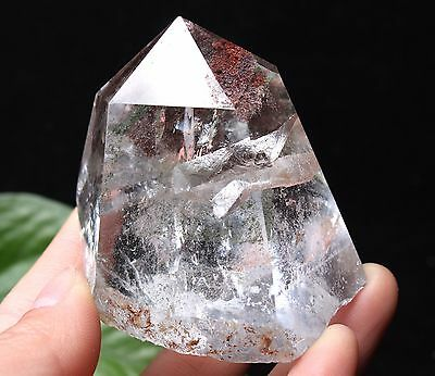 125g Natural Clear Green Phantom Quartz Crystal Point Specimen