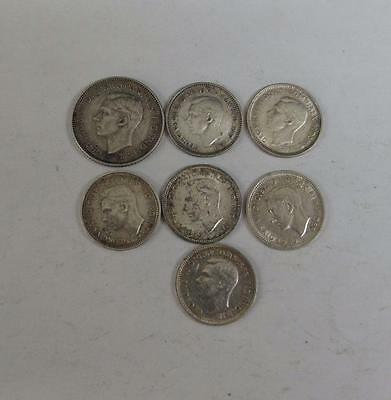 Lot Of 7! Australian Silver Coins! Great Group! Really Nice Type Coins! Look!