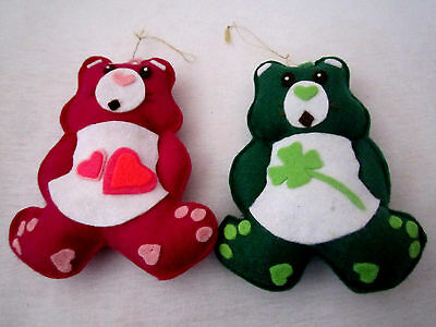 Lot Of 2 Unbreakable 5 Inch Teddy Bear  Christmas Tree Ornaments In  Ex. Cond.