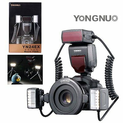 Yongnuo YN24EX Macro Master TTL 2pc Flash Head Speedlite 4pc Rings for Canon US
