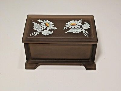 Westmoreland Brown Mist Footed Treasure Chest With Daisies On Lid Excellent
