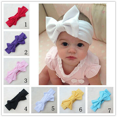 7 Colors Big Bow Headband Stretch Turban Knot Hair Band For Baby Kids Girls