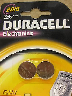 2 x DURACELL CR2016 LITHIUM BATTERY COIN CELL DL2016 KCR2016 BUTTON 3V 2016 NEW