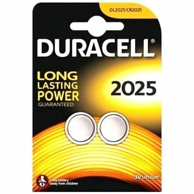 2 x DURACELL CR2025 LITHIUM COIN 3v CELL BATTERY DL 2025 BR2025 PACK OF 2 REMOTE