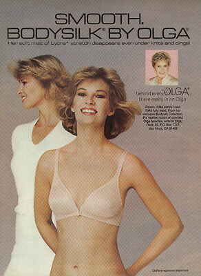 Smooth BodySilk bra by Olga disappears under knits ad 1985