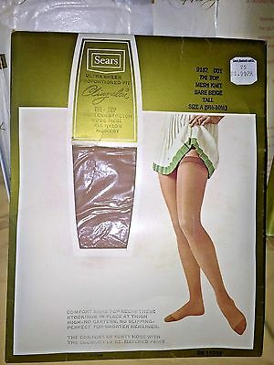 Vintage Sears Cling alon Thigh High Stockings in Bare Beige Tall 9 1/2 - 10 1/2