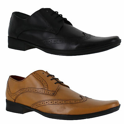 Mens Lambretta Sqaure Toe Leather Lace Up Smart Formal Brogue Shoe Sizes 7 to 12