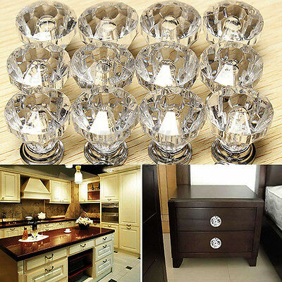 12Pcs Glass Cabinet Knobs Diamond Shaped Drawer Cupboard Handle Pulls 30mm
