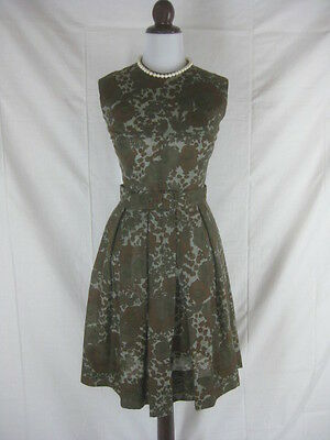 Vtg 50s 60s Chocolate Brown Cotton Womens Vintage Sheer Garden Party Dress W 28