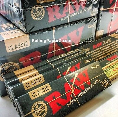 4x Packs RAW ALL NATURAL BLACK Double Pressed CLASSIC 1 1/4 Size ROLLING PAPERS