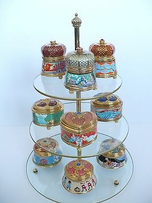 House Of Faberge 3 Tire Glass Display Stand / Franklin Mint 3 Tire Display Stand