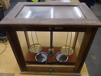 Antique Weighing Scales Set With Glass Display Case Philip Harris and Co Ltd